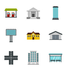 urban infrastructure icons set flat style vector image vector image