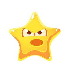 yellow star with emotional face angry and vector image