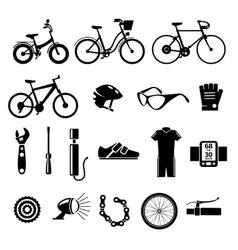 Bicycle bike icons set vector image vector image