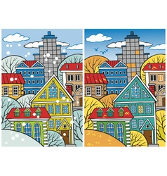 city winter and autumn vector image vector image