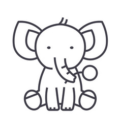 cute elephant line icon sign vector image