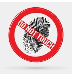 icon forbidden to leave fingerprints touch vector image
