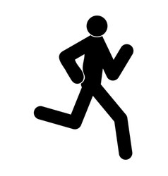 running man - stick the black color icon vector image vector image