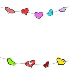Sketch hearts garland vector image