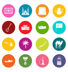 turkey travel icons many colors set vector image vector image