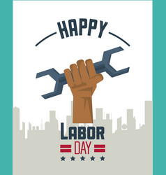 colorful poster of happy labor day with silhouette vector image vector image
