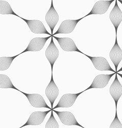 Gray striped six pedal abstract flowers vector image