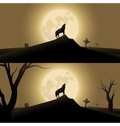 Halloween background with werewolf vector