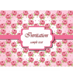 Invitation card with pink roses vector image vector image