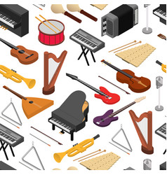 music instruments background pattern set isometric vector image vector image
