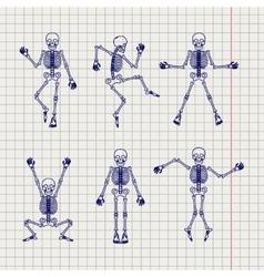 Outline skeletons set on notebook page vector image