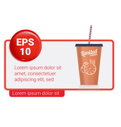 banner with plastic fastfood cup for beverages vector image vector image