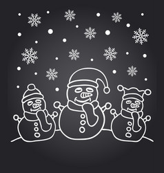 new year chalkboard card with the family of snowme vector image vector image