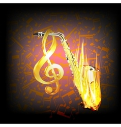 Saxophone on fire a background with music notes vector image