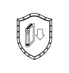 Silhouette shield with book and arrow icon flat vector