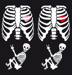 Skeleton baby boy and girl set vector image