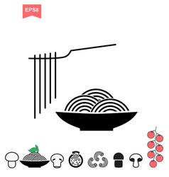 spaghetti or noodle icon vector image vector image