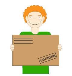 the red-haired cute courier is holding a parcel in vector image