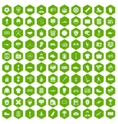 100 mens team icons hexagon green vector