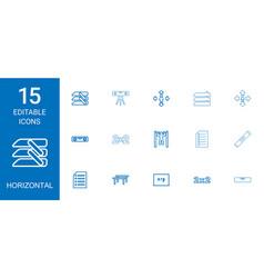 15 horizontal icons vector