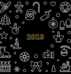 2019 christmas dark outline square vector image