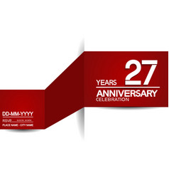 27 years anniversary design with red and white vector