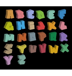 3D graffiti color fonts alphabet over black vector