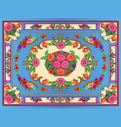 a bright multicolored carpet with floral ornaments vector image