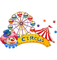 A signage at circus with a clown vector