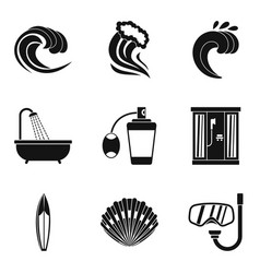 Activity of water icons set simple style vector