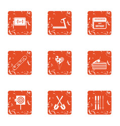 American celebration icons set grunge style vector
