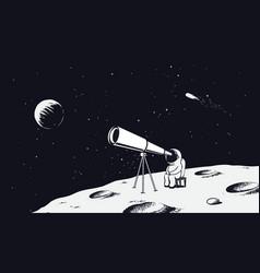 Astronaut looks through telescope to universe vector