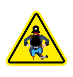 attention pirate yellow warning sign rover vector image