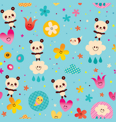 Baby panda bears seamless pattern vector