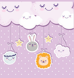 baby shower clouds lion rabbit greeting card vector image