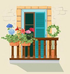 balcony flowers house facade window and vector image