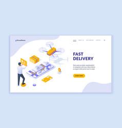 banner for fast delivery service website vector image