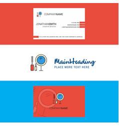 beautiful makeup logo and business card vertical vector image