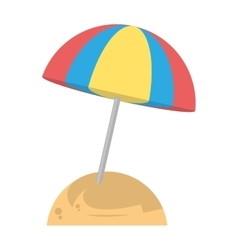 Beautiful umbrella sun beach sand vector