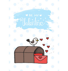 bird mail cartoon cute in vector image