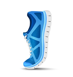 Blue curved sport shoes for running vector image