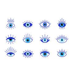 Blue evil eye set eyes symbol stock vector