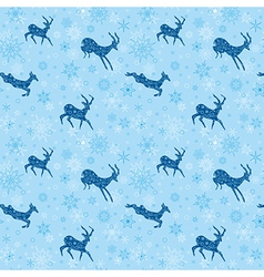 Blue seamless christmas background with blue goats vector