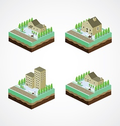 Businessman residential home isometric cartoon vector