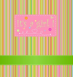 card for baby girl with a sign its a girl and vector image