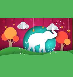 cartoon paper landscape elephant vector image