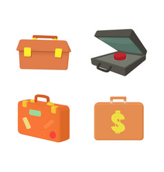 case icon set cartoon style vector image