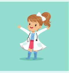 Cheerful baby girl in white coat and stethoscope vector