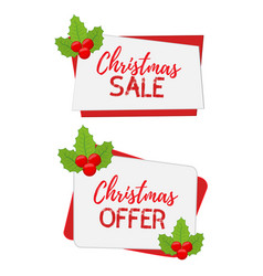 christmas banners for sale with holly vector image