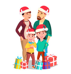 Christmas family portrait dad mother vector